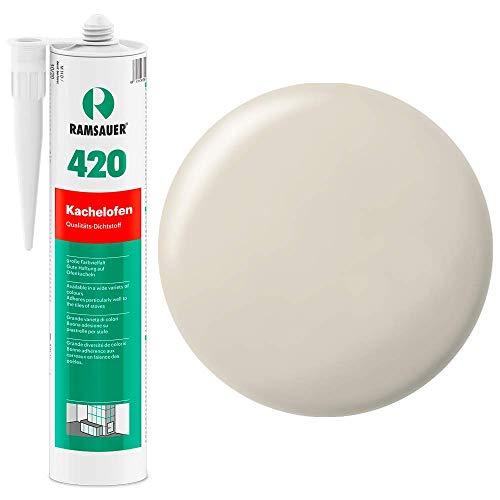 Ramsauer 420 Kachelofen - Profi Acryl Dichtstoff für Kachelofenfugen und Anschlussfugen - 310ml Kartusche (Perlweiß)