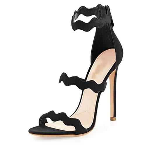 Women Sandals Shoes High Heels Zipper Plus Size Custom Color Sandalias Mujer 2018 Gladiator Sandals Women Black 11