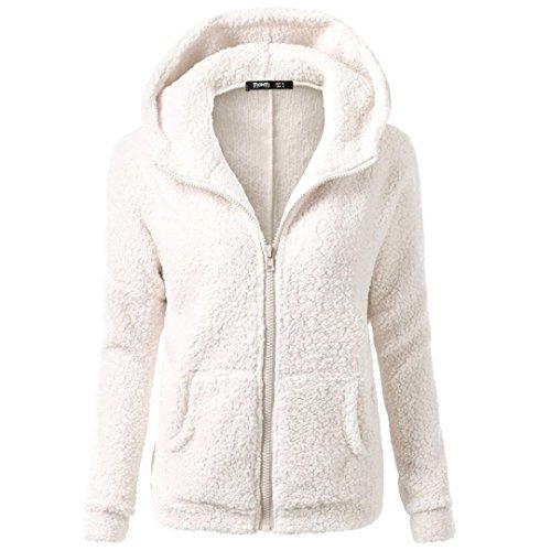 Wolle Pullover Jacke Mantel (Xinan Damen Kapuzenpullover Sweatshirt Jacke Mantel Winter Wolle Pullover Kleidung Frauen Lange Pullover Blusen Tops von (L, Weiß))
