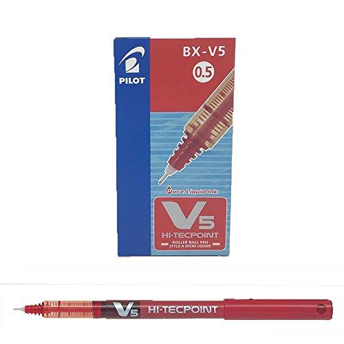 Pilot V5 - Penna a sfera con inchiostro liquido, punta da 0,5 mm, colore: nero Scatola da 12 Red