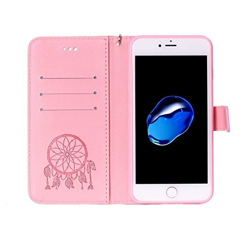 GR Für iPhone 7 Plus Crazy Pferd PU Leder Textur Dream Catcher Druck Horizontal Flip Case mit Halter & Card Slots & Wallet & Lanyard ( Color : Pink ) Pink