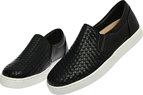 Paperplanes 1370–3 Up Casual mixte longue antidérapante Ons Baskets chaussures Noir - 1371-Black