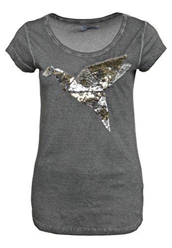 2369e89b151f Sublevel Damen Shirt mit Wendepailletten Vogel Motiv Elegantes Basic TShirt  middlegrey