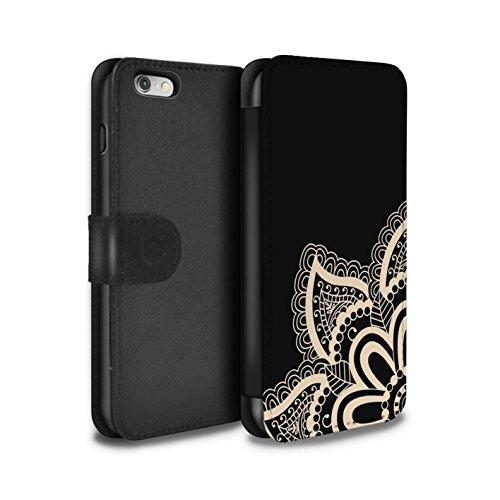 STUFF4 PU-Leder Hülle/Case/Tasche/Cover für Apple iPhone SE / Blume/Schwanz Muster / Henna Tätowierung Kollektion Stern