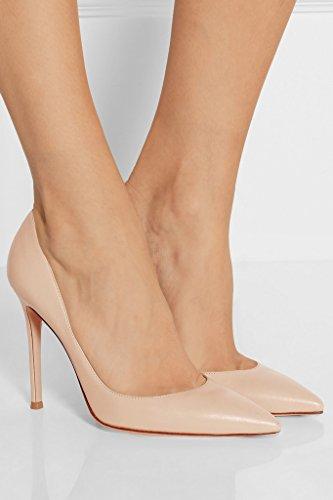 EDEFS Femmes Artisan Fashion Escarpins Classiques Elégant Délicats Bout Pointus Travail Bureau Chaussures à talon aiguille de 100mm Noir Beige