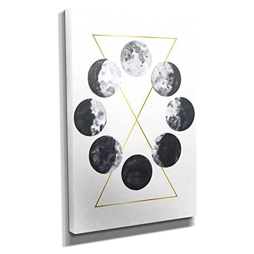 Mondphasen - Kunstdruck auf Leinwand (40x60 cm) zum Verschönern Ihrer Wohnung. Verschiedene Formate auf Echtholzrahmen. Höchste Qualität.