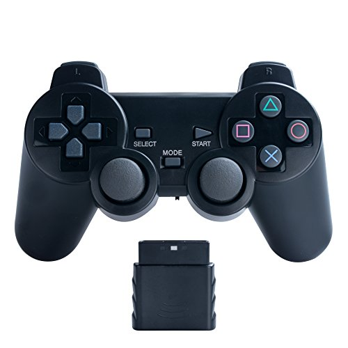 Bowink Wireless Gaming Controller für PS2 Double Shock Solid Black