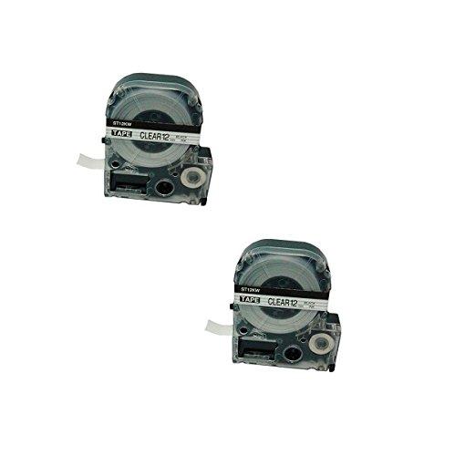 2 Kassetten LC-4TBN LC-4TBN9 ST12KW schwarz auf transparent 12mm x 8m Schriftband kompatibel für Epson LabelWorks LW-300 LW-300L LW-400 LW-500 LW-600P LW-700 LW-900P LW-1000P Beschriftungsgerät - Epson Farbband Kassette