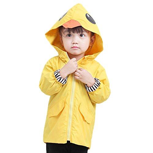 WFRAU Dinosaurier/Ente Drucken wasserdichte Regenponcho Kinder Unisex Lange Ärmel Pure Farbe mit Kapuze Winddicht Regenjacke Regenmantel Regencape für Jungen Mädchen Outdoor Regenbekleidung -