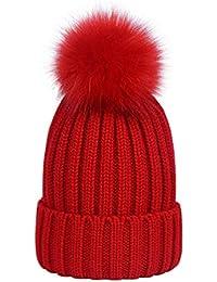 Lau s Cappelli invernali ragazzo berretto cappello a costine con pon pon di  pelliccia b3946150a362
