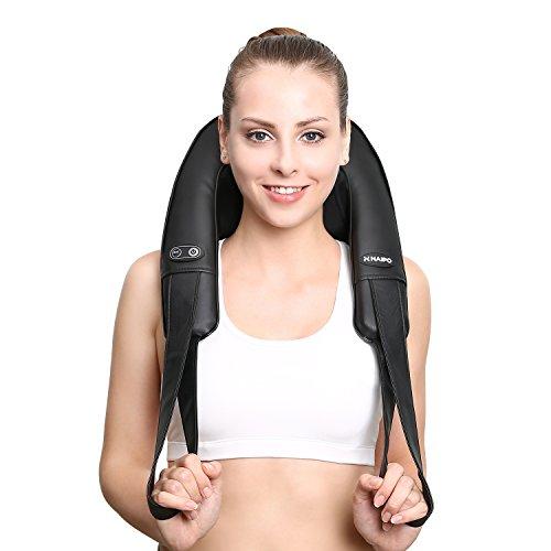 Naipo Schulter Massagergerät Shiatsu Nackenmassagergerät mit Heizfunktion und Kneten Entspannung für Zuhause und im Büro