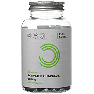 Activated Charcoal 280 mg Coconut Derived Detox Cleanser and Digestive Support, 60 Capsules