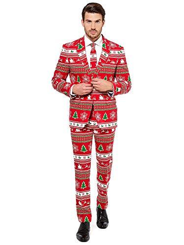 Christmas Erwachsene Kostüm Party Für - Opposuits Weihnachtsanzüge für Herren - Winter Wonderland - Besteht aus Sakko, Hose und Krawatte - EU 50