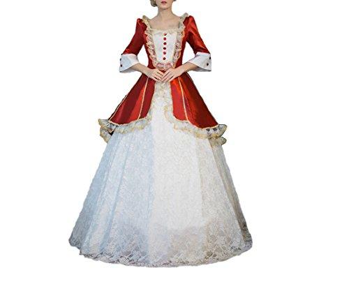 s Kleid mit Underskirt Mittelalter Palace Royal Masquerade Partei Kostüm (Rot, one size(Büste 87-93cm, Taille 70cm)) (Plus Größe Renaissance Kostüme Für Frauen)