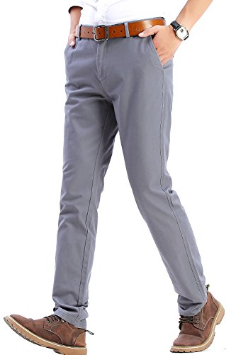 INFLATION Herren Casual Hose Chino Stretch Pant Stoffhose Chinohose Regular Fit MH102 Silbergrau 29