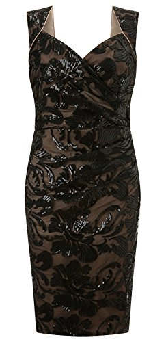 Elsa Lace Shift Dress Black/Nude