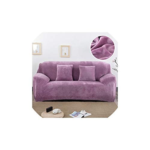 Black-Sky Plüschgewebe Sofaabdeckung 1/2/3/4 sitzigen dick Slipcover Couch Sofabezüge Stretch elastische Sofabezüge Handtuchwickel Abdeckung, Pflaume, 2 Sitz 145-185cm -