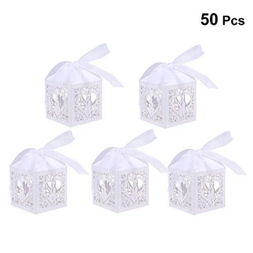 YeahiBaby 50 Stück Hochzeits-Geschenk-Box Süßigkeiten-Box für Geburtstag, Party, Weihnachten, Bonboniere (weiß)