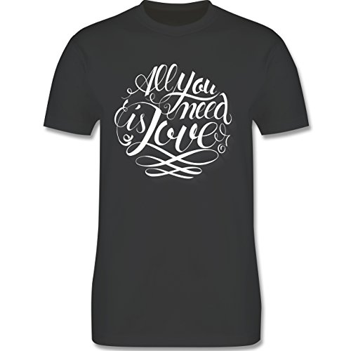 Statement Shirts - All you need is love Lettering - Herren Premium T-Shirt Dunkelgrau