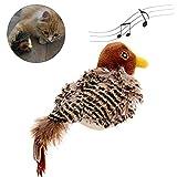 Hualieli Vocal Cat Toy Pet Bird Giocattolo Interattivo per Gatti Giocattoli di Peluche Suoni Realistici Elettronici Giocattolo per Animali Domestici Uccello A Forma di Passero Simulazione Giocattolo