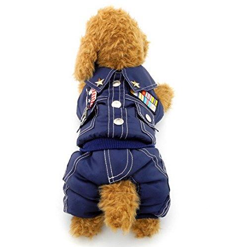 zunea Badge Allgemeine PET Jumpsuit Fleece gefüttert Weich Warm Winter Kleiner Hund Katze Militär Kostüm (dieser Style Run klein, wählen Bitte eine Größe größer)