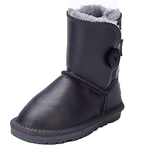 SYYAN Kinder Winter Lammfell Mädchen Jungen Behalten Warm Wasserdicht Schaffell Kurz Stiefel Mehrfarbig , 2 , 25