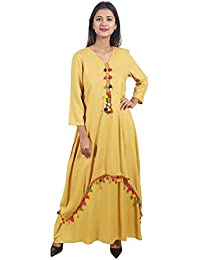 39279577d6 Secret Bazaar Women s Rayon Plain Pom Pom Decorated Layered Fit and Flare  Dress(Yellow)