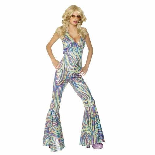 Generique - Promi Disco-Kostüm für Damen Sängerin-Overall bunt ()