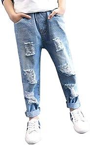 NOBRAND Ropa para niños Jeans con Agujeros Ropa para niñosCintura elástica Jeans Azul Claro para niños