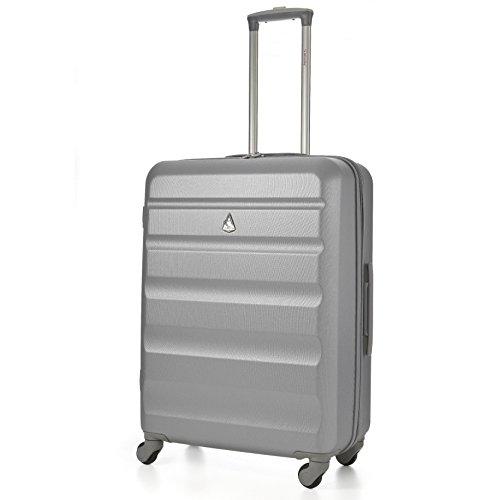 Aerolite Leichtgewicht ABS Hartschale 4 Rollen Trolley Koffer Reisekoffer Hartschalenkoffer Rollkoffer Gepäck, 69cm, Silber