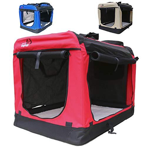 Hundetransportbox faltbar Transportbox für Hunde Hundebox Auto - Dogi Kennel - 6 Größen - 3 Farben (XXL (91 x 64 x64 cm), Rot)