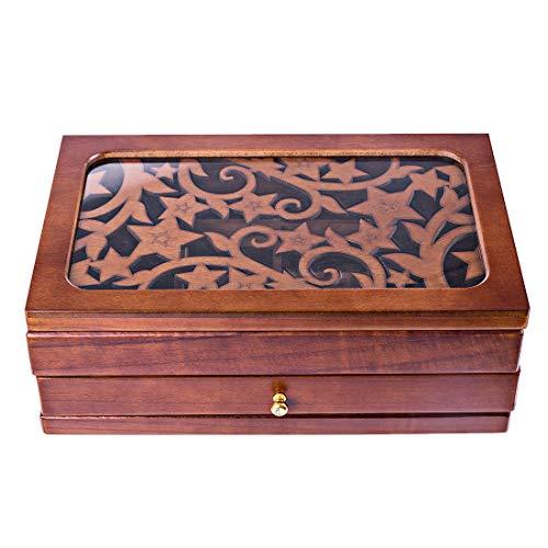 GODNECE Doppelschicht Schmuckkästchen Groß Holz Vintage Schmuckkoffer Damen/Mädchen