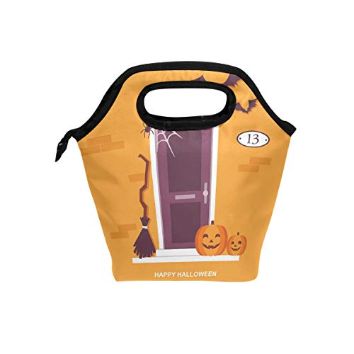 SKYDA Durable Insulated Lunch Box Halloween Front Door Decorations Tote Reusable Cooler Bag Organizer Portable Reusable Lunch Tote -