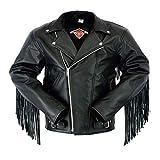 Veste de moto - homme - cuir de qualité supérieure - franges/style Perfecto - 2XL - 117cm