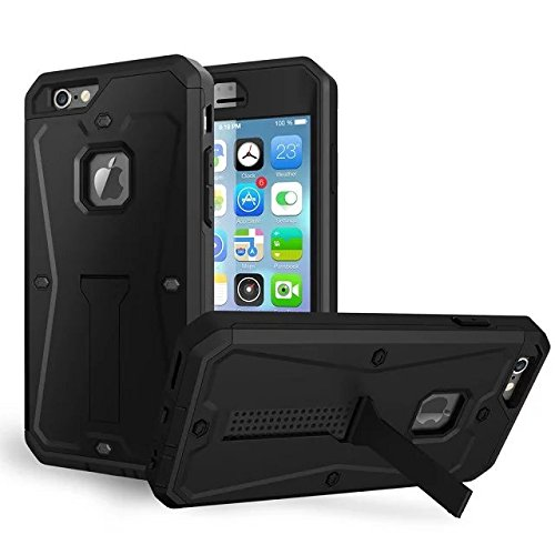 iPhone 6 Coque, iPhone 6S Coque, Valenth Tank 3 in 1 Hard Back Coque with Kickstand and Screen protector Waterproof Dual Layer Holster Hybrid Defender Cover Coque for iPhone 6/6S 4.7inch Silver Noir
