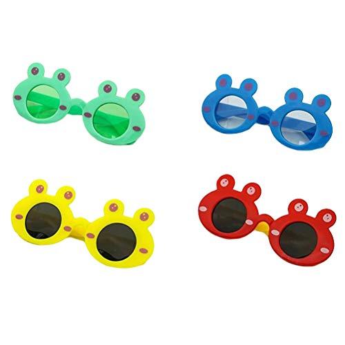 Healifty 4 Paar Frosch Brille Cartoon Sonnenbrille Forsch Neuheit Sonnenbrille Ornament Kinder Cosplay Party Zubehör (Mischfarbe)