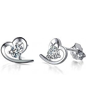 J.Vénus Damen Ohrstecker Ohrringe Set Basic 925 Sterling Silber, Ohrringe mit Etui (10.3mm*9.5mm)