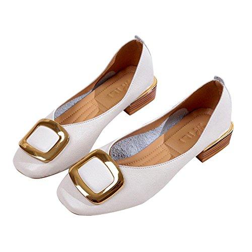 TianWlio Ballerinas Damen Mode Britische Einzelne Schuhe Flachen Mund Kleine Schuhe Starke Ferse Schuhe Beige 36