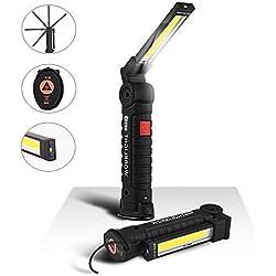 Lampe de Travail COB Baladeuse LED 800LM Ultra Lumineuse, USB Rechargeable Inspection Lampe Portable avec Base Magnétique, Torche 5 Modes Lumière 6000K Lanterne pour Auto Garage Atelier Bricolage