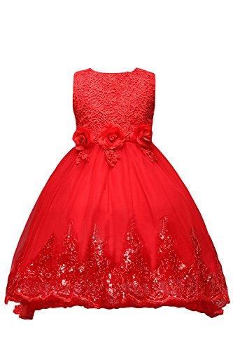 Babyonlinedress Kinder Lace Hochzeitskleid Tüll Festkleid Abendkleid Asymmetrisch Partykleid Vorne...
