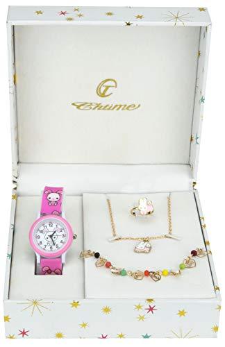 Coffret Cadeau Montre Fille Rose - Parure de Bijoux Lapin - Collier-Bague- Bracelet