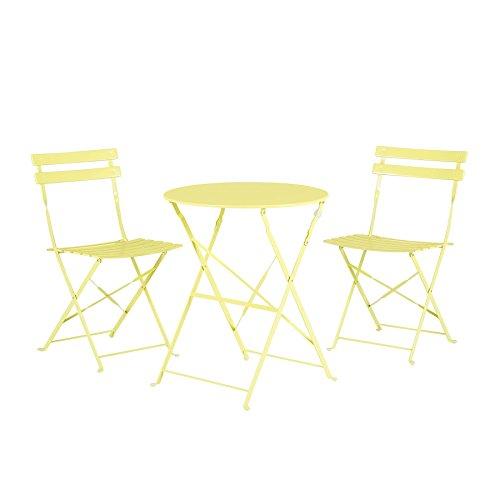 Modernes Balkonset Tisch mit 2 Stühlen aus Stahl Limette Fiori - Moderne Stahl-tisch