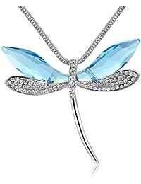 Dayiss Elegant Libelle Kette Geschenke für Frauen Mädchen Kristall HalsKette Langekette Pulloverkette in 2 Farben