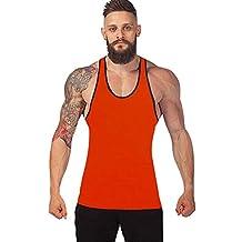 riou Camisetas sin Mangas de Fitness para Hombre dentrenamiento de algodón Deportivo Sudor Tops Camisa Casual