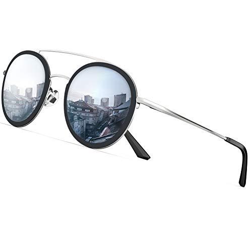 PAERDE Polarisierte Sonnenbrille Herren,Damen-UV 400 Schutz|Runde Retro-Stil|Metallrahmen Sonnenbrille
