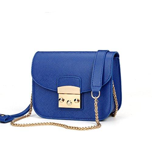 Damen Kleine Quadratische Tasche Schulter Messenger Schloßkette Paket,Beige Blue