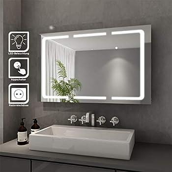 Homfa LED Spiegelschrank Bad Edelstahl Badezimmerspiegel ...