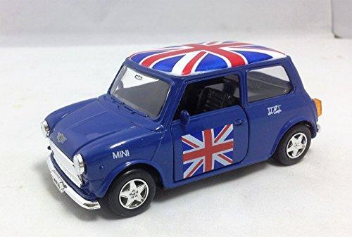 Juguete Mini Cooper Azul - Techo Bandera Union Jack / Modelo Auto Pull Back and Go / Metal Fundido / Puertas del Coche Abiertas / Recuerdo británico de Inglaterra Reino Unido