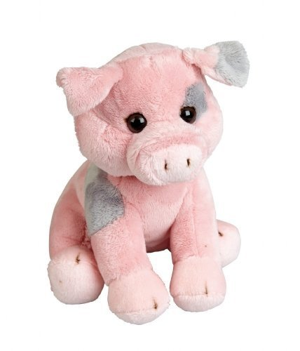 Plush Soft Toy Pink & Grey Pig by Ravensden from The Suma Collection. 19cm. FRS016PI