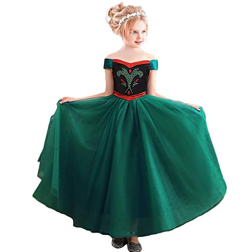 CQDY Mädchen Anna Kleid Frozen Anna Deluxe Prinzessin Kostüm ELSA Anna Krönungsparty Kleid Halloween Cosplay Fancy Party Outfit Kostüm Prinzessin Dress up